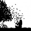 Girl with bike playing in the park with leaves falling from tree in park in fall or autumn silhouette — Stock Vector