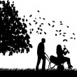 Man pushing a girl in cart in autumn or fall in garden or yard and foliage fly under the tree silhouette — Stock Vector
