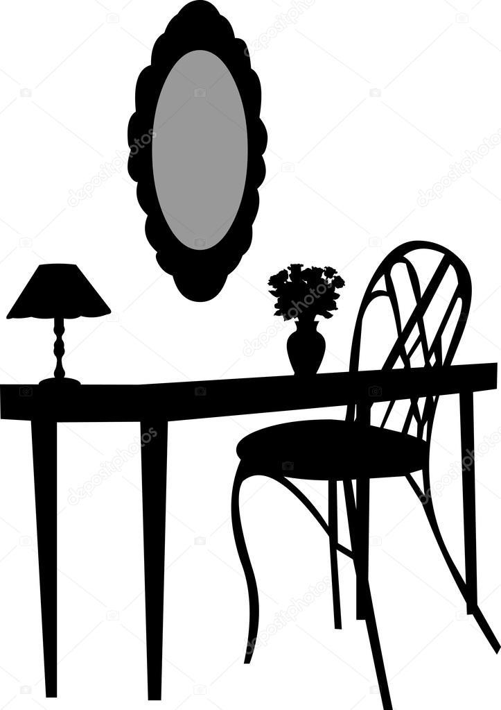 Interior Scene With Antique Furniture Old Mirror