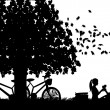 Romantic couple in picnic, with bikes in park under the tree toast with glass of wine in autumn or fall silhouette — Stock Vector