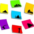 Royalty-Free Stock Vector Image: Seven wonders of the new world, sticky colorful memo note papers