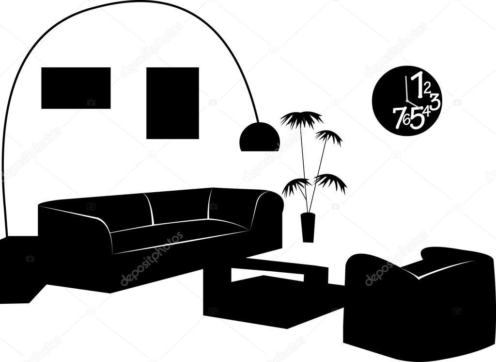 Teil Aus Einem Modernen Wohnzimmer Mit Modernen Möbeln