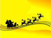 Santa Claus driving in a sledge silhouette in yellow background — Stock Vector