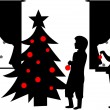 Royalty-Free Stock Vector Image: Kids decorating Christmas tree silhouette in winter
