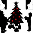 Santa Clause with gifts and kids opening presents under the Christmas tree in living room in winter silhouette — Stock Vector