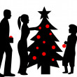 Family decorating Christmas tree in winter silhouette - Stock Vector