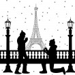 Romantic couple in front of Eiffel tower in Paris a man proposing to a woman while standing on one knee silhouette — Stock Vector