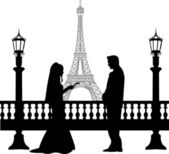 Wedding couple in front of Eiffel tower in Paris silhouette — Stock Vector