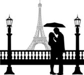 Romantic couple in front of Eiffel tower in Paris under umbrella silhouette — Stock Vector