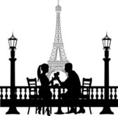 Romantic couple in front of Eiffel tower in Paris have a dinner silhouette — Stock Vector