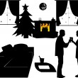 New Year's Eve in living room at home, a couple toasting with champagne at midnight silhouette — Stock Vector #16925631