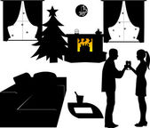 New Year's Eve in living room at home, a couple toasting with champagne at midnight silhouette — Stock Vector