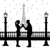 New Year's Eve in Paris, a couple toasting with champagne at midnight in front of Eiffel tower silhouette — Stock Vector