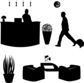Visitante y la recepcionista de la silueta del hotel — Vector de stock