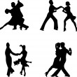 Set of silhouettes of a dancing couple — Stock Vector #17607133