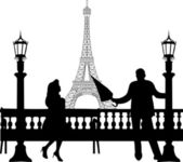 A young man with an umbrella, standing near a street lamp and woo the girl on the bench in front of Eiffel tower in Paris silhouette — Stock Vector