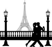 Romantic couple dancing in front of Eiffel tower in Paris silhouette — Stock Vector