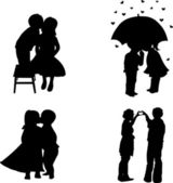 Set lovers boys and girls for Valentine's Day, 14th February silhouette — Wektor stockowy