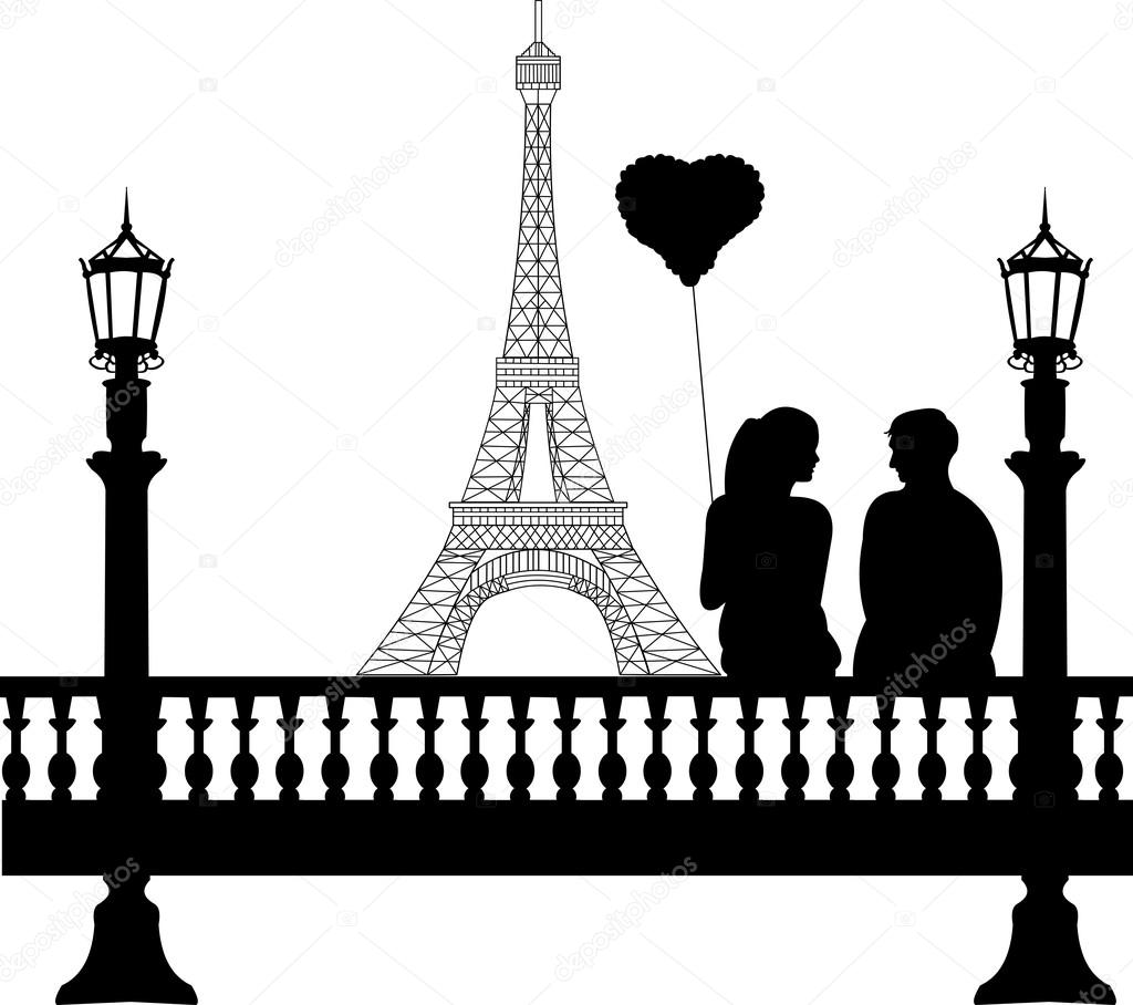 Couple in love on Valentine's Day in front of Eiffel tower in Paris silhouette, one in the series of similar images — Stock Vector #18467823