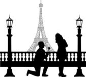 A young man with rose, kneel and woo the girl in Paris in front of Eiffel tower on Valentine s day silhouette — Stock Vector