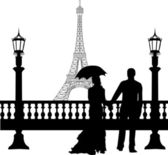 Wedding couple in front of Eiffel tower in Paris on Valentine s day silhouette — Stock Vector