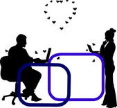 Love on the job and in the office, exchanging love messages on Valentine s Day silhouette — Stock Vector