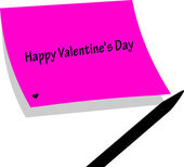 Happy Valentine s day original valentine card - handwritten sticky memo paper with pencil — Stock Vector
