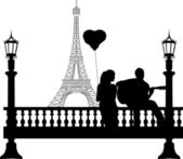 Couple in love on Valentine's Day where a guy plays guitar girl in front of Eiffel tower in Paris silhouette — Stock Vector