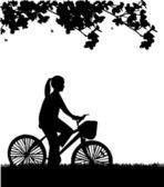 Young woman ride bike in park in spring silhouette — Stock Vector