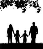 Family walking in park in spring silhouette — Stock Vector