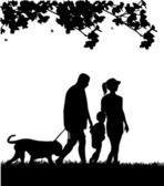 Family walking in park with dog in spring silhouette — Stock Vector