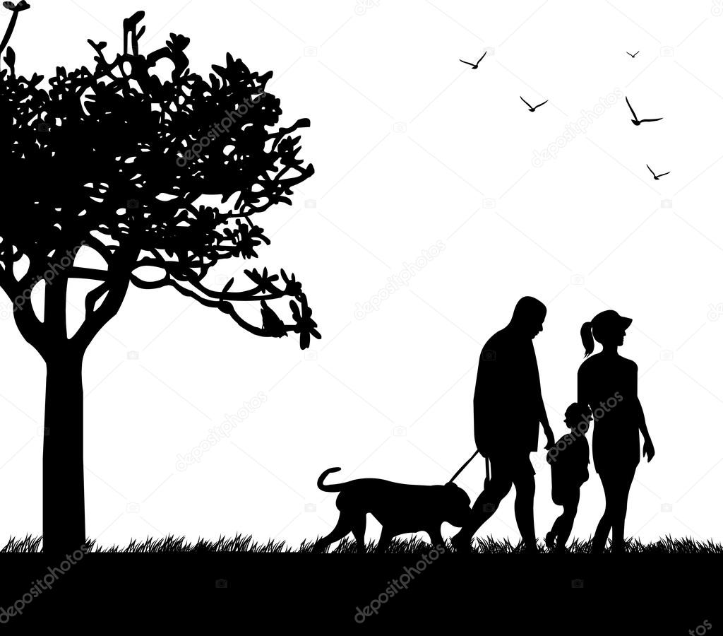 Family walking in park with dog in spring silhouette, one in the series of similar images  — Stock Vector #19385239