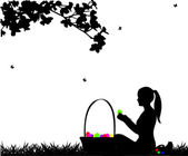 Girl coloring Easter eggs sitting in park in spring silhouette — Stock Vector