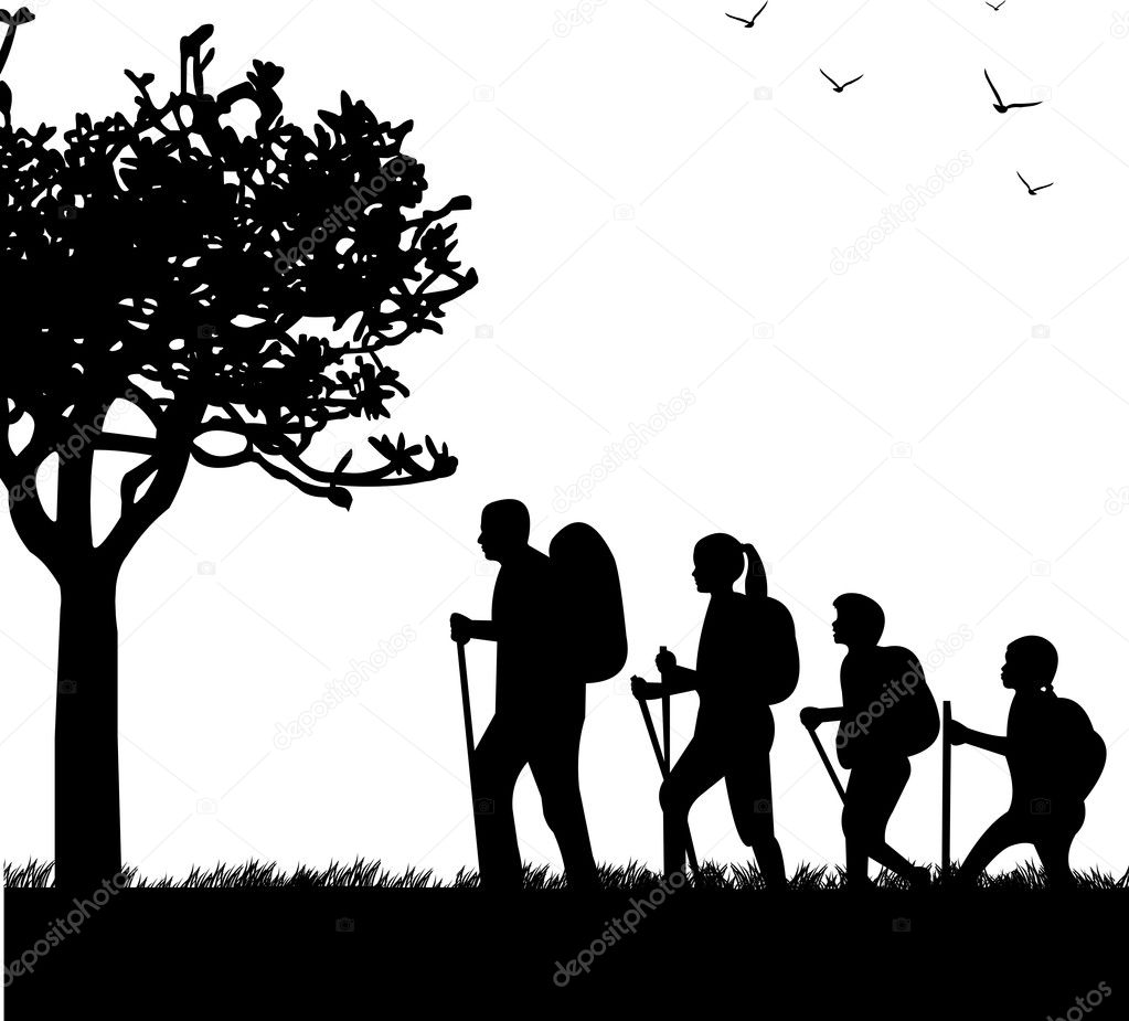 Hiking family with rucksacks in park in spring silhouette, one in the series of similar images   Stock Vector #20356671