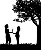 Boy gives a girl flowers, bouquet snowdrops in park under the tree silhouette — Stock vektor
