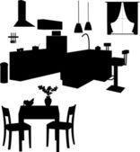Kitchen interior silhouette — Stock Vector