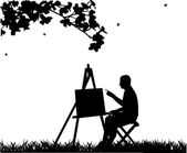 Artist painter man in park painting silhouette — Stock Vector