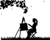 Artist painter woman in park painting silhouette — Stock Vector