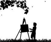 Joven pintor artista en silueta de pintura parque — Vector de stock