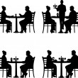 Business lunch in the restaurant between business partners in different situations silhouette — Vector de stock