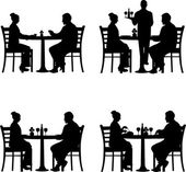 Business lunch in the restaurant between business partners in different situations silhouette — Stock Vector