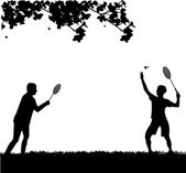 Badminton men players outdoor in spring silhouette — Stock Vector