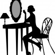 Girl makes make-up in front off mirror silhouette — Stock Vector