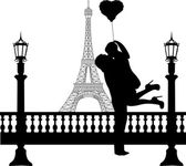 Couple in love with heart balloon in front of Eiffel tower in Paris silhouette — Stock Vector