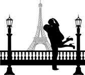 Couple in love in front of Eiffel tower in Paris silhouette — Stock Vector