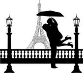 Couple in love with umbrella in front of Eiffel tower in Paris silhouette — Stock Vector
