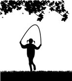 Bahar siluet parkında ip atlama oynayan küçük bir kız — Stok Vektör