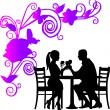 Stock Vector: Background with flowers and butterflies and romantic couple in restaurant
