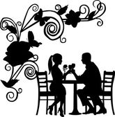 Background with flowers and butterflies and romantic couple in restaurant — Stock Vector
