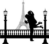 Couple in love with bouquet of flowers in front of Eiffel tower in Paris silhouette — Stock Vector
